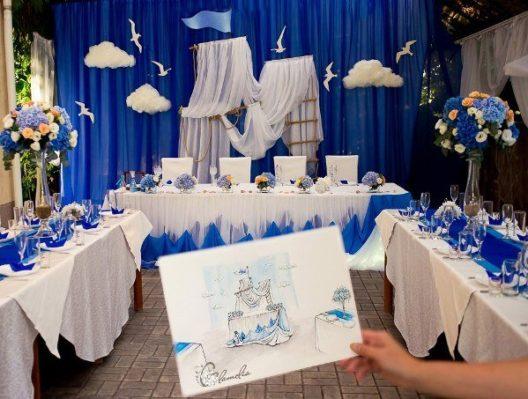 oformlenie-svadby-v-morskom-stile-1-528x399 Оформление свадьбы в морском стиле, картинка, фотография
